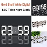 Ounice LED Alarm Clock Modern Gold Shell White Digital LED Table Desk Night Wall Clock Alarm Watch 24 or 12 Hour Display