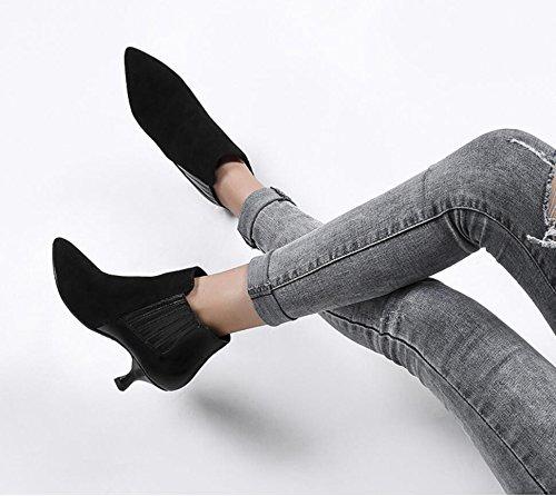 KHSKX-En otoño e invierno la version coreana de botas nuevas bien de tacon con suelto zapatos de mujer manga corta black