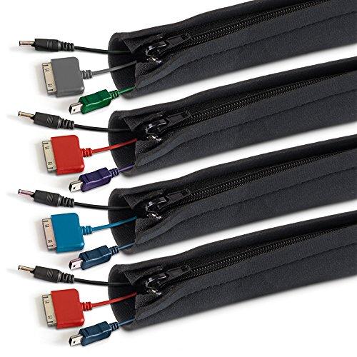 Lansky Office Supplies - Fundas de manejo de cables de neopreno flexible para cubrir computadoras, TV, consolas y cables de...