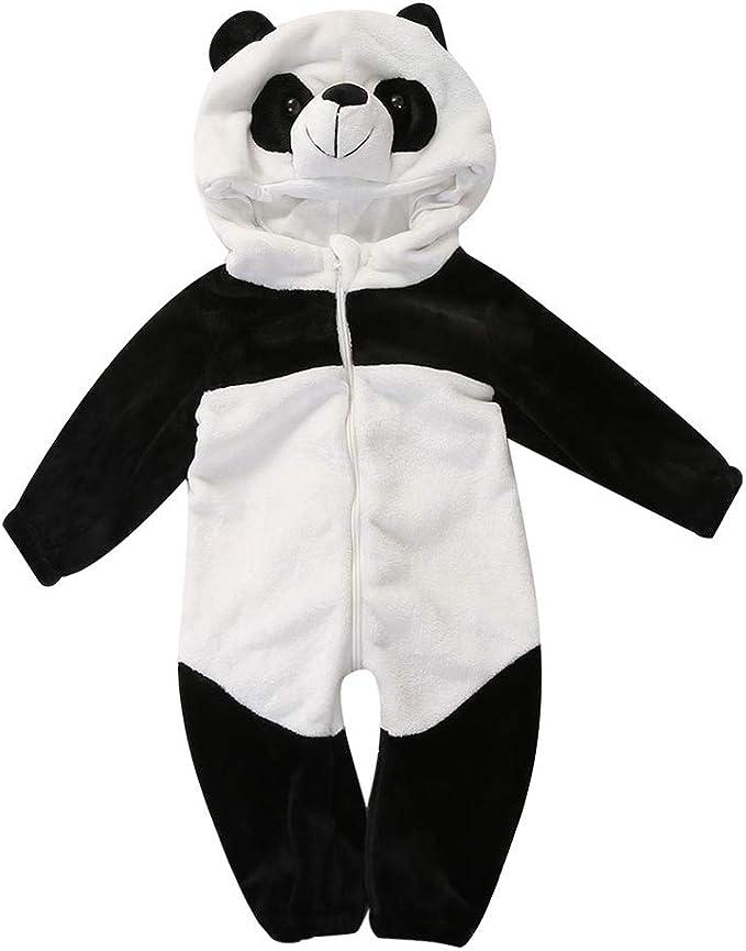 MAXGOODS Unisex Pagliaccetto Invernale Panda Flanella Pigiama Tuta Neonata Carino Cerniera Lampo Cosplay Con Cappuccio Completi Per Bambini Tuta Animale Costume Neonato
