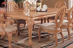 Dining Table with Ball & Claw Design Legs Antique White Finish