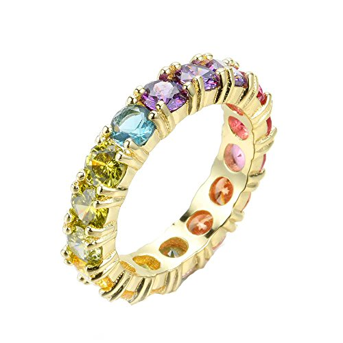 NYC Sterling Women's 4MM Sterling Silver Rainbow Round Cubic Zirconia Eternity Ring (Gold-Plated-Silver, 9)