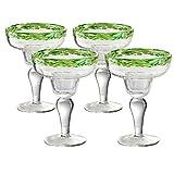 Artland Mingle Margarita Glasses (Set of 4), Green Rim