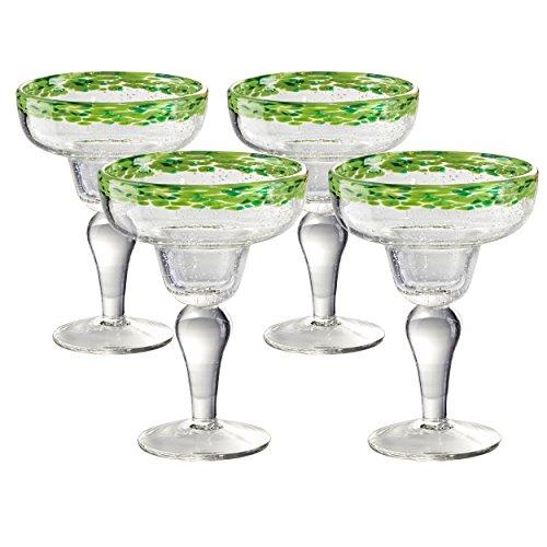 Artland Mingle Margarita Glasses (Set of 4), Green Rim (Green Margarita Set)