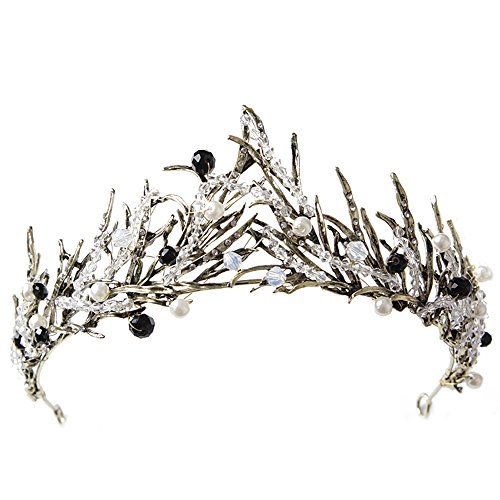 Vintage Princess Hair Crown Handmade Artificial Black Rhinestone Quinceanera Bridal Crown Wedding Tiaras Hair Accessory]()