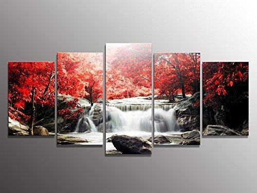 youkuart-kx9906-5-piece-red-woods-waterfall-canvas-print-paintings-for-wall-and-home-decor