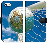 Luxlady iPhone 7 Flip Fabric Wallet Case Image ID: 34532669 San Marino Flag and Football in Goal net