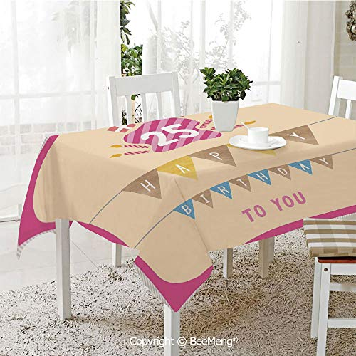 Large dustproof Waterproof Tablecloth,Family Table Decoration,25th Birthday Decorations,Pink Framework Cute Flags with Letters Burning Candlesticks Gifts,Multicolor,70 x 104 inches