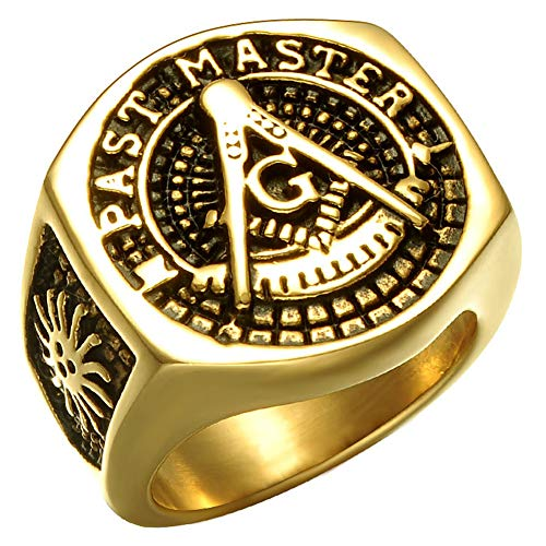 Alicejewelry Mens Gold Plating Stainless Steel Masonic Past Master Rings,Size - Past Master Steel
