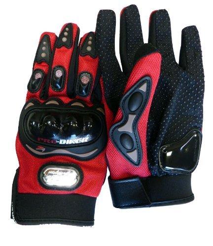 Carbon Fiber Pro-Biker Bike Motorcycle Motorbike Racing Gloves Full Red, Blue, Black (Extra Large, Red)