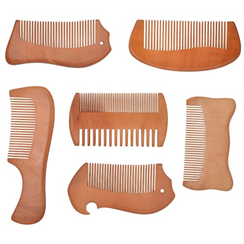 Wooden Beard Mustache Combs for Men, Pocket Wood Hair Combs for Whole Family (Comb Set of 6)