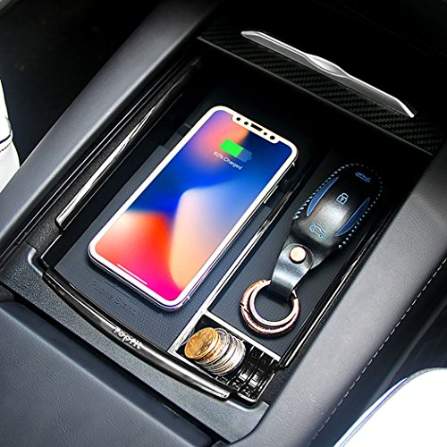 Car Wireless Charger Center Console Armrest Storage Box Holder Container Glove Pallet Tray Compatible Model S Model X 2016 2017 2018 (Armrest Box with Qi Wireless Charging)
