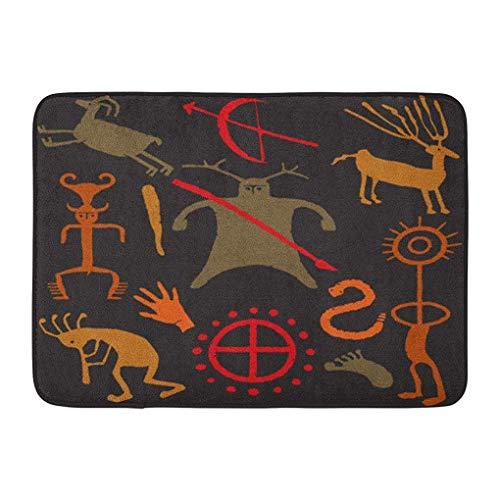 YGUII Doormats Bath Rugs Outdoor/Indoor Door Mat Brown Kokopelli Warrior Caveman Weapons People Animals and Symbols Tan Ancient Bathroom Decor Rug Bath Mat 16X23.6in (40x60cm)