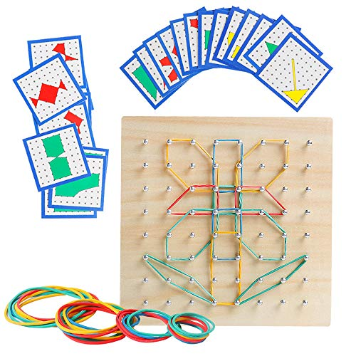 (Wooden Geoboard Mathematical Manipulative Material Array Block Geo Board - Graphical Educational Toys with 24Pcs Pattern Cards and Rubber Bands Shape STEM Puzzle Matrix 8x8 Brain Teaser for Kid)