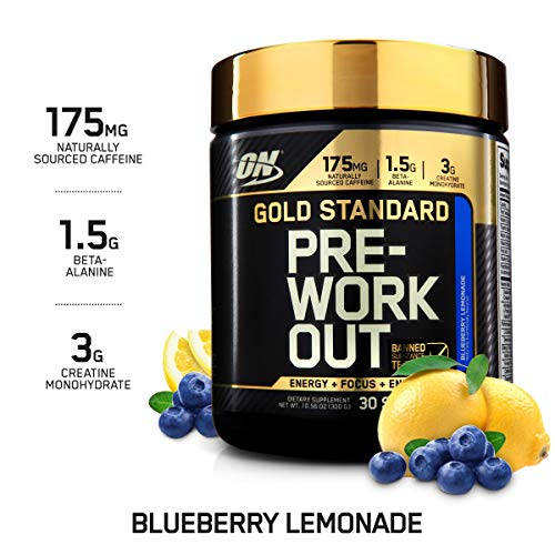 OPTIMUM NUTRITION Gold Standard Pre-Workout with Creatine, Beta-Alanine, and Caffeine for Energy, Keto Friendly, Blueberry Lemonade, 30 Servings (Best Way To Raise Metabolism)