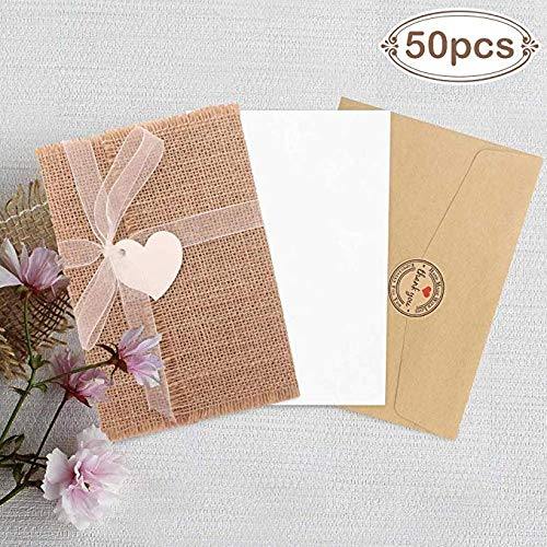 Aparty4u 50pcs Rustic Fill-in Wedding Invitations, Burlap Vintage Wedding Invitations with Envelopes, Burlap & Ribbons, Perfect for Invitaciones para Bodas, Bridal Shower Invite
