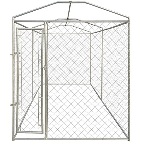Tidyard 13'x6' Outdoor Dog Kennel with Canopy Top with Chain-Link Mesh Sidewalls, Lockable Latch System for Dogs