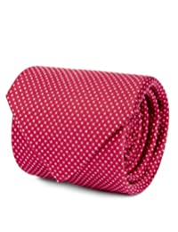 Corbata Brera En Tejido De Jacquard Con Diseño De Puntos Rojo Unitalla