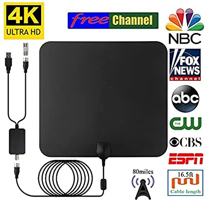 2018 NEWEST HDTV Air Antenna for Digital TV Indoor 80 Miles Long Range for Local Channels