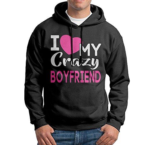 Obachi I Love My Crazy Boyfriend Men's Long Sleeve Pullover Hooded Sweatshirt Black Size XXL