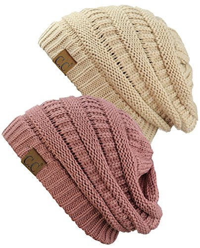 C.C Trendy Warm Chunky Soft Stretch Cable Knit Beanie Skully, 2 Pack Dark - Cable Chunky Hat Knit