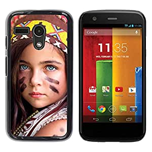 LECELL -- Funda protectora / Cubierta / Piel For Motorola Moto G 1 1ST Gen I X1032 -- little indian devochka --