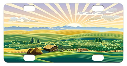 Landscape Mini License Plate by Lunarable, Rural Design with Hills Forest and Houses Huts Sun Rays Agriculture Illustration, High Gloss Aluminum Novelty Plate, 2.94 L x 5.88 W Inches, - Huts Cheap