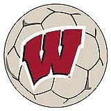 Fanmats NCAA University of Wisconsin Badgers Nylon Face Soccer Ball Rug
