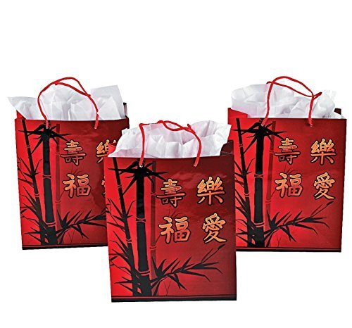 Chinese New Year Gift Bag with Handles (12 Pack) Paper.