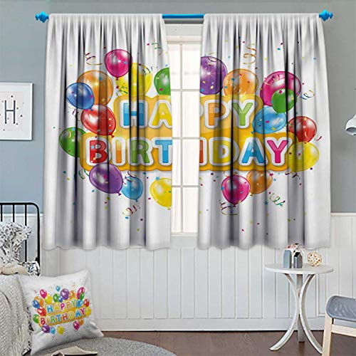 Anhounine Birthday,Blackout Curtain,The Words Happy Birthday with Vivid Balloons Confetti Rain Blithesome Happy Day,Patterned Drape for Glass Door,Multicolor,W72 x L63 inch (Steamer Wright)