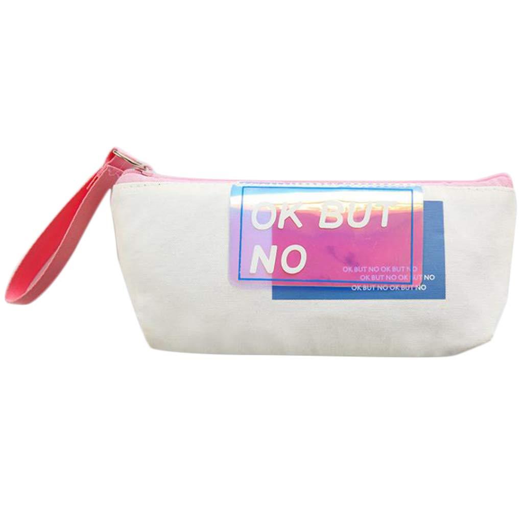 LGHH Sequin Pen Bag Canvas Pen Student Stationery Bag Storage Bag,White by LGHH