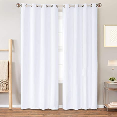 jinchan blackout curtain liner thermal insulated white blackout curtains for bedroom energy efficient drapes for living room grommet curtains 84 inch
