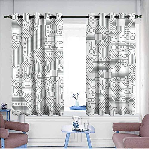 VIVIDX Kids Curtains,Modern,Futuristic Computer Theme,for Bedroom Grommet Drapes,W72x72L
