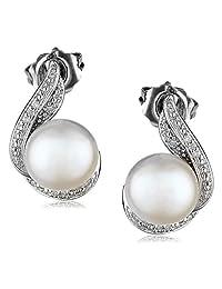 Freshwater Cultured Pearl Diamond Hook Earrings