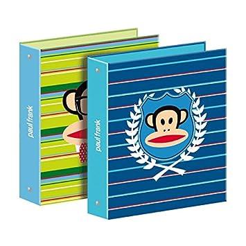 1 archivador rígido A4, 4 anillas Paul Frank - Stripes - Modelo azul: Amazon.es: Oficina y papelería