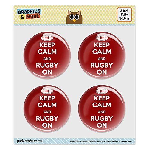 Puffy Bubble Dome Scrapbooking Crafting Stickers - Keep Calm and Rugby On Sports - Set of 4-2.0