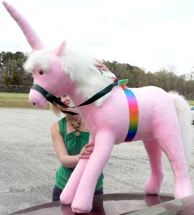 - Big Plush American Made Giant Stuffed Pink Unicorn 3 Feet Wide and 3 Feet Tall Pink Color Made in The USA America