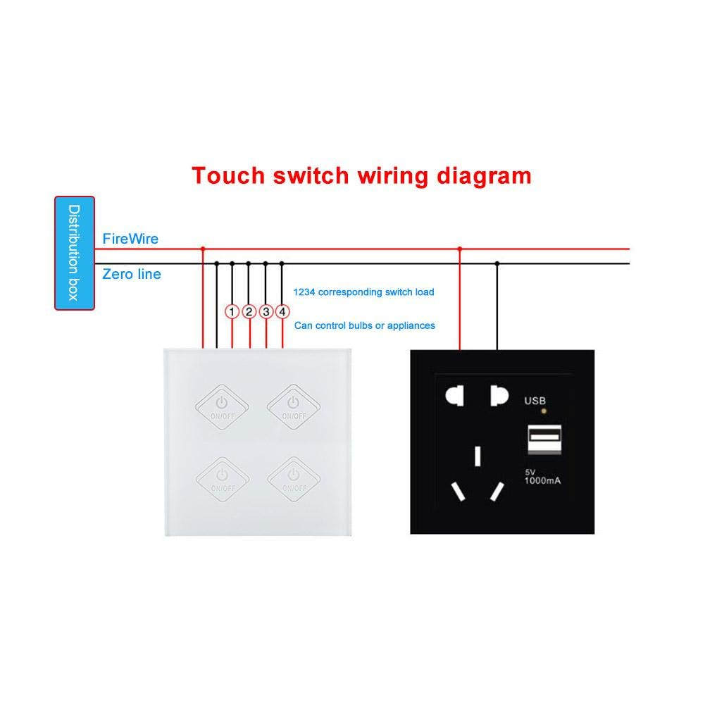 Ftvogue Wifi Smart Touch Switch Works Timer Wireless Wiring Diagram Panel Support For Alexa Google Home Ac90 250vapp Controlled Neutral Wire