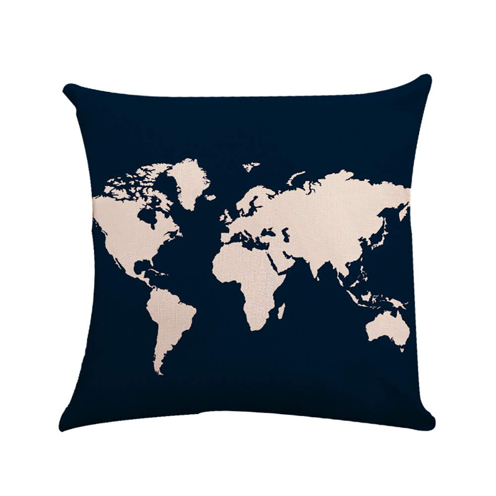 Iuhan Throw Pillow Case Cushion Cover, Linen Square Throw Flax Pillow Case Decorative World Map Cushion Pillow Cover 18 x 18 45cm x 45cm (A) Iuhan ®
