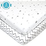 American Baby Company 2 Piece Printed 100% Cotton Jersey Knit Fitted Portable/Mini-Crib Sheet, Grey Stars and Zigzag