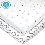 American Baby Company 2 Pack Printed 100% Natural Cotton Jersey Knit Fitted Portable/Mini-Crib Sheet, Grey Stars and...