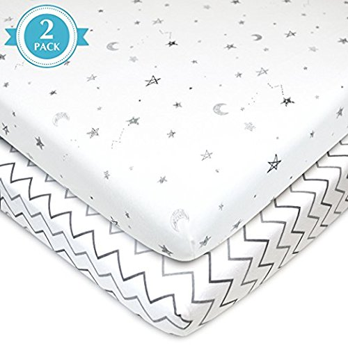 American Baby Company 2 Piece Printed 100% Cotton Jersey Knit Fitted Portable/Mini-Crib Sheet, Grey Stars and (Knit Fitted Porta Crib Sheet)