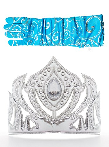 Little Adventures Ice Princess Silver Crown & Glove Set for Girls - One-Size (3+ Yrs) -