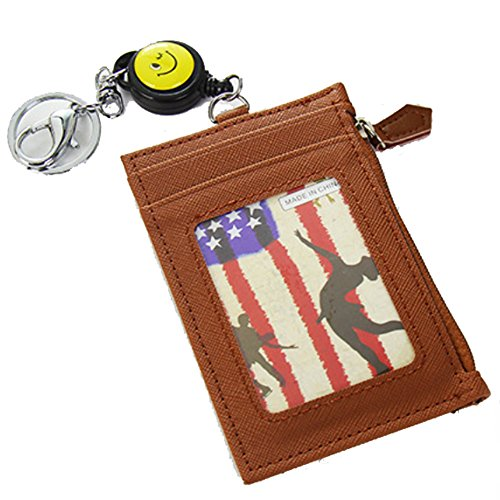 Edmen Leather Slim Credit Card Pocket with Key Ring and ID Window Purse (Brown)