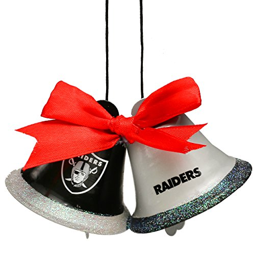 Christmas Holiday Metal 2 Bells Ornament - Oakland Raiders