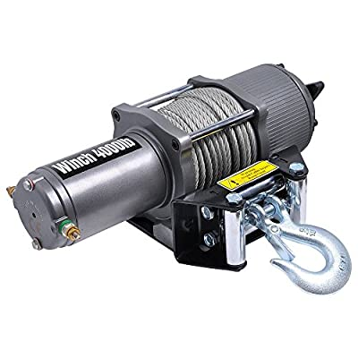 CPW (tm) 4000 Pound Electric Recovery Winch 12V For ATV Towing Truck Trailer Line Stopper