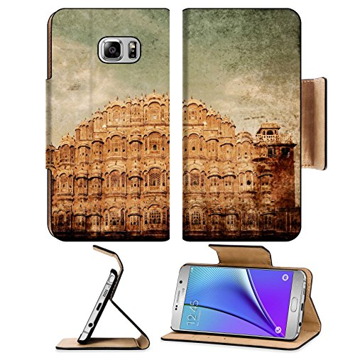 Liili Premium Samsung Galaxy Note 5 Flip Pu Leather Wallet Case Vintage retro hipster style travel Note5 IMAGE of Famouse Rajasthan landmark Hawa Mahal palace Palace Note5 IMAGE ID