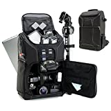 USA GEAR Digital SLR Camera Backpack Case w/15.6' Laptop Compartment Featuring Padded Custom Dividers, Tripod Holder, Rain Cover. Long-Lasting Durability & Storage Pockets - Compatible w/Many DSLRs