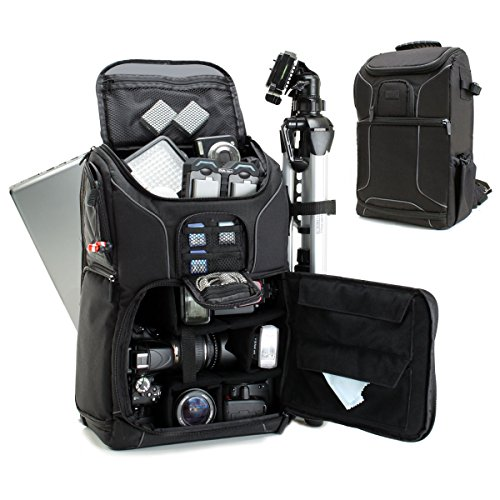 "Digital SLR Camera Backpack with 15.6"" Laptop Compartment by USA Gear features Padded Custom Dividers, Tripod Holder, Rain Cover and Storage for DSLR Cameras by Nikon, Canon, Sony, Pentax & More"