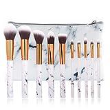 10Pcs Marble Make Up Brushes Sets Blusher Eyeshadow Brushes Cosmetic Concealer Brushes Kits